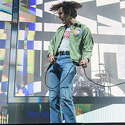 WASHINGTON, DC - May 21st, 2019 - Adam Hann, Matt Healy and George Daniel of The 1975 perform at The Anthem in Washington, D.C. The band's third studio album, A Brief Inquiry into Online Relationships, was released late last year and  reached number one in the UK and number four in the US.  (Photo by Kyle Gustafson / For The Washington Post)
