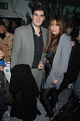 ZAFAR RUSHDIE and WILLA KESWICK at a party to present the Fall/Winter Collection 2007/2008 of Moncler the French mountaineering brand held at 10 Mercer Street, London WC2 on 13th February 2007.<br />