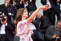 Maria Grazia Cucinotta at the premiere of the film Suburbicon at the 74th Venice Film Festival, Sala Grande on Saturday 2 September 2017, Venice Lido, Italy.