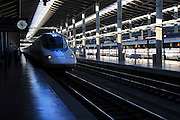 RENFE Alvia train at platform of railway station, Cordoba, Spain
