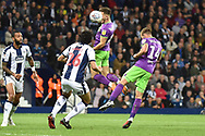 Bristol City midfielder Josh Brownhill (8)  heads the ball  during the EFL Sky Bet Championship match between West Bromwich Albion and Bristol City at The Hawthorns, West Bromwich, England on 18 September 2018.
