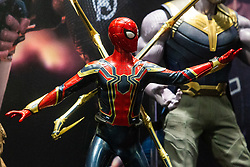 A Spiderman figurine is set among others from various action films the Toy Fair at Kensington Olympia in London, the UK's largest dedicated game and hobby exhibition featuring the hottest and most anticipated products for the year ahead. London, January 22 2019.