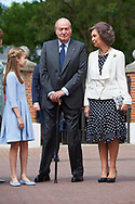 Crown Princess Leonor, King Juan Carlos of Spain, Queen Sofia of Spain arrived Asuncion de Nuestra Senora Church for the First Communion of Princess Sofia on May 17, 2017 in Aravaca near of Madrid.