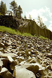 California: Postpiles, Devil's Postpile National Monument, Photo: camamm105.Photo copyright Lee Foster, 510/549-2202, lee@fostertravel.com, www.fostertravel.com