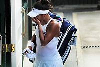 Tennis - 2017 Wimbledon Championships - Week One, Friday [Day Five]<br /> <br /> Womens Singles Third Round match<br /> Heather Watson (GBR) v Victoria Azarenka (BLR) <br /> <br /> Heather Watson breaks down in tears as she leaves on Centre court <br /> <br /> COLORSPORT/ANDREW COWIE