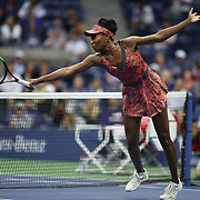 2017 U.S. Open Tennis Tournament - DAY SEVEN. Venus Williams of the United States in action against Carla Suarez Navarro of Spain during the Women's Singles round four match at the US Open Tennis Tournament at the USTA Billie Jean King National Tennis Center on September 03, 2017 in Flushing, Queens, New York City.  (Photo by Tim Clayton/Corbis via Getty Images)