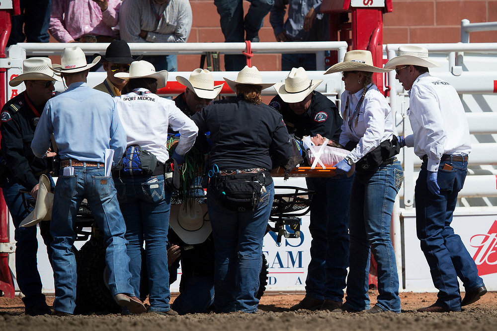 during the rodeo at the Calgary Stampede in Calgary, Alberta, Canada July 14, 2017. Todd Korol/The Globe and Mail