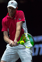 September 23, 2017 - Prague, Czech Republic - Team World player Sam Querrey of United States returns the ball to Team Europe player Roger Federer of Switzerland during the first day at Laver Cup on Sept 23, 2017 in Prague, Czech Republic.  The Laver Cup consists of six European players competing against their counterparts from the rest of the World. Europe will be captained by Bjorn Borg and John McEnroe will captain the Rest of the World team. The first Laver Cup held in Europe, at the O2 arena Prague from September 22-24, 2017. (Credit Image: © Robert Szaniszlo/NurPhoto via ZUMA Press)