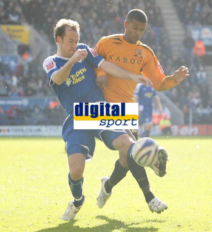 Photo: Steve Bond/Richard Lane Photography. <br />Leicester City v Hull City. Coca Cola Championship. 21/03/2008. Fraizer Campbell (R) harasses Jamie Clapham (L)