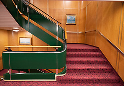 Stairway of Queen Elizabeth 2 former ocean liner now reopened as hotel in Dubai , United Arab Emirates