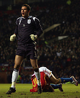 Photo: Paul Thomas.<br /> England v Spain. International Friendly. 07/02/2007.<br /> <br /> England keeper Ben Foster shows his shock in Fernando Morientes (Ground) missing an open goal.