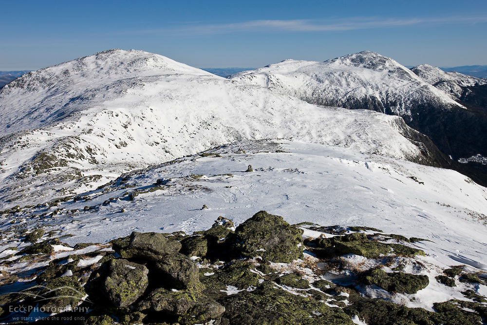 Winter in New Hampshire's White Mountains.  Mounts Jefferson, Adams, and Madison in the Northern Presidential Range.  Great Gulf Wilderness.  From Gulfside Trail below Mount Washington.