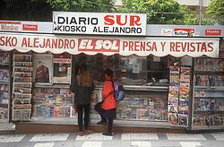 Kiosko newspaper and magazine stall in Malaga,