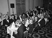 People Of The Year Awards.  (R91)..1988..22.11.1988..11.22.1988..22nd November 1988..This is the fourteenth year of the People of the Year Awards, sponsored by the New Ireland Assurance Company plc. The awards will be presented by Mr Ray Burke TD, Minister of Energy and Communications. Eight people have been nominated this year..Mr Ollie Jennings, for his contribution to community and cultural life of Galway City..Mr Jack Charlton, for restoration of pride to the Irish Soccer team..Ms Carmencita Hederman, For her efforts to instill a community spirit in Dublin..Maureen O'Mahony, for her dedication in assisting the sick and elderly in the Bantry area..Mr Tommy Boyle, for his contribution in having the Garda band ranked as one of the top bands in the world..Ms Alice Leahy, for a lifetime commitment in providing medical care to the Dublin Homeless..Ms Norma Smurfitt, for her voluntary contribution to the work of the Arthritis Foundation Of ireland..Mr Gordon Wilson, for his commitment to peace and reconcilliation in Northern Ireland...Invited guests at the awards ceremony sit down to dinner at the Burlington Hotel after the award ceremony..(Picture requested by Paschal McNeill, New Ireland)
