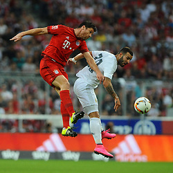 05.08.2015, Allianz Arena, Muenchen, GER, AUDI CUP, FC Bayern Muenchen vs Real Madrid, im Bild Xabi Alonso (FC Bayern Muenchen) und Jese (Real Madrid) im Kopfballduell // during the 2015 Audi Cup Match between FC Bayern Munich and Real Madrid at the Allianz Arena in Muenchen, Germany on 2015/08/05. EXPA Pictures © 2015, PhotoCredit: EXPA/ Eibner-Pressefoto/ Stuetzle<br /> <br /> *****ATTENTION - OUT of GER*****