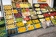 Close up of fruit stall in Bario Macerana market, city centre of Seville, Spain