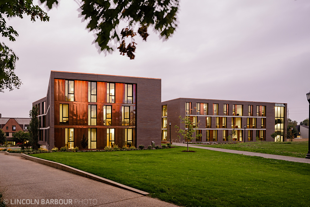 An exterior view at dusk of Trillium Residence Hall at Reed College in Portland, Oregon