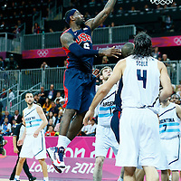 06 August 2012: USA LeBron James goes for the layup during 126-97 Team USA victory over Team Argentina, during the men's basketball preliminary, at the Basketball Arena, in London, Great Britain.
