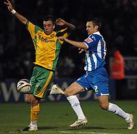 Photo: Ashley Pickering/Sportsbeat Images.<br /> Colchester United v Norwich City. Coca Cola Championship. 15/12/2007.<br /> Jimmy Smith of Norwich (L) and Danny Granville of Colchester