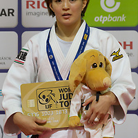 Natsumi Tsunoda of Japan celebrates her victory during an awards ceremony after the Women -52 kg category at the Judo Grand Prix Budapest 2018 international judo tournament held in Budapest, Hungary on Aug. 10, 2018. ATTILA VOLGYI