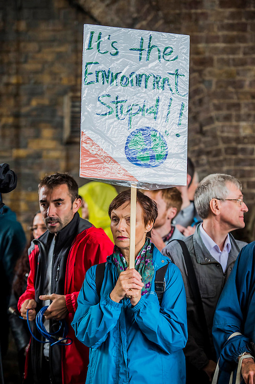 Charlotte Church, Welsh singer, performs outside Shell HQ as part of month long protest against Arctic drilling from Greenpeace. The protest involves a classical orchestra performing a daily Requiem for the Arctic Ocean. Shell Centre, Southbank, London, UK 26 Aug 2015