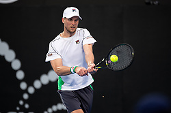 January 11, 2019 - Sydney, NSW, U.S. - SYDNEY, NSW - JANUARY 11: Andreas Seppi (ITA) hits a backhand in his game against Diego Schwartzman (ARG) at The Sydney International Tennis on January 11, 2018, at Sydney Olympic Park Tennis Centre in Homebush, Australia. (Photo by Speed Media/Icon Sportswire) (Credit Image: © Steven Markham/Icon SMI via ZUMA Press)