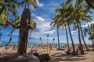 The Duke Kahanamoku Statue at Waikiki Beach, Honolulu, Oahu, Hawaii