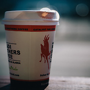 Heather Goodrich's lipstick on the morning coffee cup in Seward, Alaska.