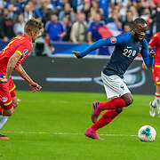 PARIS, FRANCE - September 10:  Jonathan Ikone #22 of France challenged by Marc Rebés #4 of Andorra during the France V Andorra, UEFA European Championship 2020 Qualifying match at Stade de France on September 10th 2019 in Paris, France (Photo by Tim Clayton/Corbis via Getty Images)