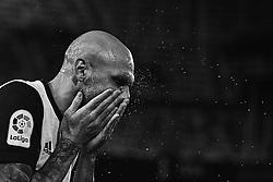 January 9, 2018 - Valencia, Valencia, Spain - (EDITORS NOTE: the image has been converted to black and white) Simone Zaza of Valencia CF refreshes himself prior to the Copa del Rey Round of 16, second leg game between Valencia CF and Las Palmas at Mestalla on January 9, 2018 in Valencia, Spain  (Credit Image: © David Aliaga/NurPhoto via ZUMA Press)