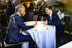 April 29, 2019 - New York, NY, U.S - Mayor PETE BUTTIGIEG (D) of South Bend, Indiana and Rev. AL SHARPTON  as seen through the front window of Sylvia's Restaurant as they eat lunch together in Harlem in  New York City on April 29, 2019 (Credit Image: © Michael Brochstein/ZUMA Wire)