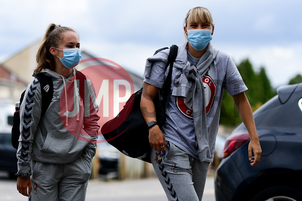 Naomi Layzell and Gemma Evans of Bristol City arrives at Twerton Park prior to kick off  - Mandatory by-line: Ryan Hiscott/JMP - 06/09/2020 - FOOTBALL - Twerton Park - Bath, England - Bristol City Women v Everton Ladies - FA Women's Super League