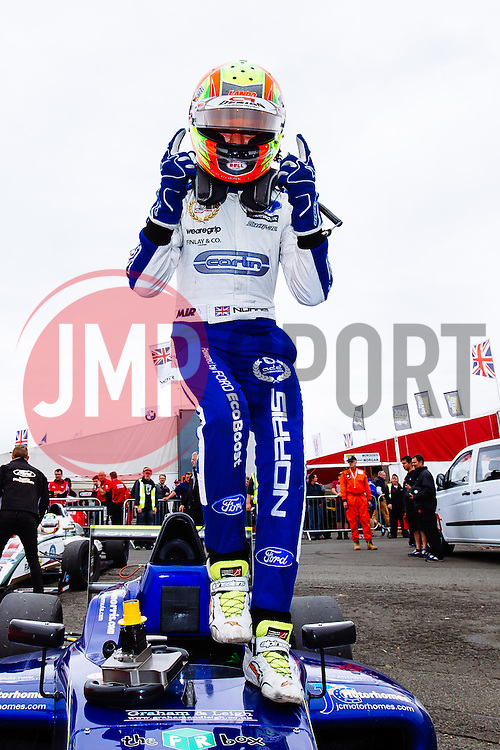 Lando Norris takes victory in the first race of the weekend | #31 Carlin | MSA Formula Championship | Race 1 - Mandatory byline: Rogan Thomson/JMP - 07966 386802 - 22/08/2015 - MOTORSPORT - Knockhill Racing Circuit - Dunfermline, Scotland - BTCC Meeting Day 1.