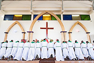 Led by Bishop Emmanuel Makala, 21 new pastoral candidates are ordained in a service with more than 1,000 worshippers on Sunday, March 15, 2015, at the Evangelical Lutheran Church in Tanzania – South-East of Lake Victoria Diocese's (ELCT-SELVD) Ebenezer Cathedral in Shinyanga, Tanzania. LCMS Communications/Erik M. Lunsford