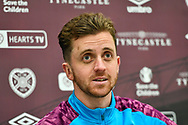Elliott Frear (#24) of Heart of Midlothian FC speaks to the media during the press conference for Heart of Midlothian at the Oriam Sports Performance Centre, Edinburgh, Scotland on 23 December 2020, ahead of the SPFL Championship match against Ayr United.