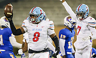 AC Flora Falcons Ja'Marion Perkins (8) celebrates recovering a North Myrtle Beach Chiefs fumble during the first half the state championship game at Benedict College.
