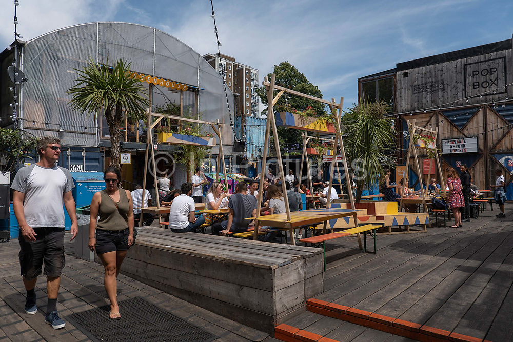 Pop Brixton on the 24th July 2019 in South London in the United Kingdom. Pop Brixton is a community project and event venue as well as location for many local independent retailers, restaurants, street food startups and social enterprises.