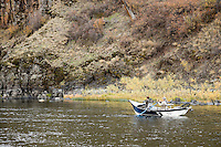 Steelhead driftboat fishing - autumn in the Grande Ronde River Canyon, Washington, USA