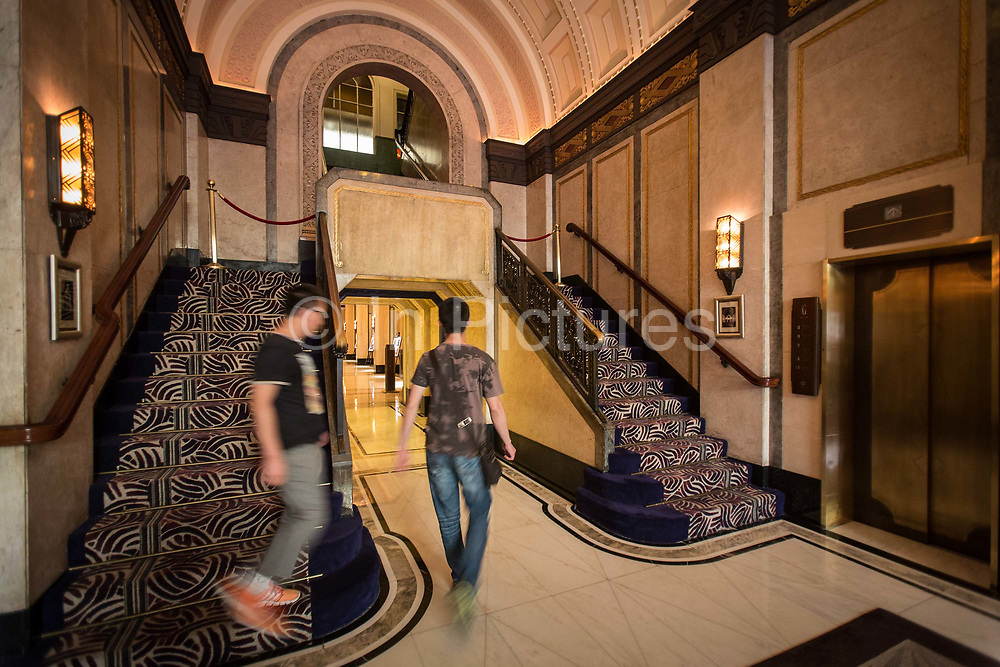 A view of the fomer main entrance to Sir Victor Sassoons Cathay Hotel renamed the Peace Hotel, now locked due to Fengshui reasons, in Shanghai, China on September 21, 2014. Sassoon was a jewish tycoon that left a series of buildings that once dominated the city of Shanghai in the 1920s and 30s.