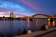 view from the Rhine boulevard in the district Deutz to the cathedral and the Hohenzollern bridge, Cologne, Germany.<br /> <br /> Blick vom Rheinboulevard in Deutz zum Dom und zut Hohenzollernbruecke, Koeln, Deutschland.
