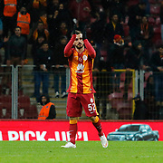 Galatasaray's Emre Colak celebrate victory during their Turkish Super League soccer match Galatasaray between Balikesirspor at the AliSamiYen Spor Kompleksi TT Arena at Seyrantepe in Istanbul Turkey on Monday, 16 February 2015. Photo by Aykut AKICI/TURKPIX