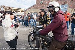 Yoshimasa Nimi arrives at the Twisted Oz Motorcycle Museum in Augusta, KS on the Team 80 1915 Indian for the hosted steak dinner during the Motorcycle Cannonball Race of the Century. Stage-7 from Springfield, MO to Wichita, KS. USA. Friday September 16, 2016. Photography ©2016 Michael Lichter.