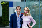 Brendan Cole and partner on the RNIB stand. the RNIB garden. The Chelsea Flower Show 2014. The Royal Hospital, Chelsea, London, UK.  19 May 2014.