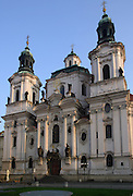 The Church of St Nicholas in Old Town Square, Prague, Czech Republic. A church has existed here since the 12th century the present church was completed in 1735.