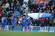 Callum Paterson of Cardiff city (jumping) celebrates with his teammates after he scores his teams 1st goal. EFL Skybet championship match, Cardiff city v Sunderland at the Cardiff city stadium in Cardiff, South Wales on Saturday 13th January 2018.<br /> pic by Andrew Orchard, Andrew Orchard sports photography.