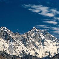 Clouds hover over Mts. Everest & Lhotse in the Khumbu region of Nepal 1986.
