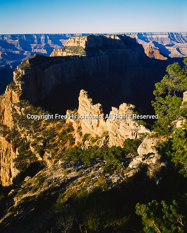 Wotans Throne viewed from Cape Royal, North Rim of the Grand Canyon, Grand Canyon National Park, Arizona.