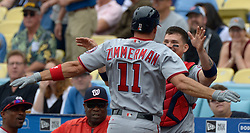June 7, 2017 - Los Angeles, California, U.S. - Washington Nationals' Ryan Zimmerman celebrates with catcher Jose Lobaton after hitting a solo home run against the Los Angeles Dodgers in the second inning of a Major League baseball game at Dodger Stadium on Wednesday, June 7, 2017 in Los Angeles. (Photo by Keith Birmingham, Pasadena Star-News/SCNG) (Credit Image: © San Gabriel Valley Tribune via ZUMA Wire)