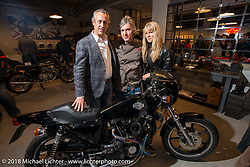 Francesco Agnoletto, Nicola Martini and Karen Davidson with a Harley-Davidson XLCR at the Mr. Martini Friday night party celebrating the opening of his bar / restaurant at the workshop during the Motor Bike Expo. Verona, Italy. January 22, 2016.  Photography ©2016 Michael Lichter.