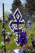 Prince's Love Symbol made with purple and white balloons on memorial fence. Paisley Park Studios Chanhassen Minnesota MN USA